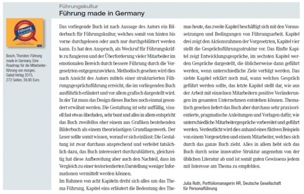 Personalwirtschaft: Rezension von Führung made in Germany